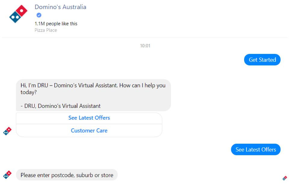 Domino's Australia Facebook Chatbot