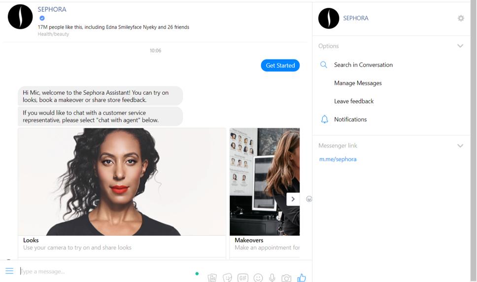 Sephora Facebook Chatbot