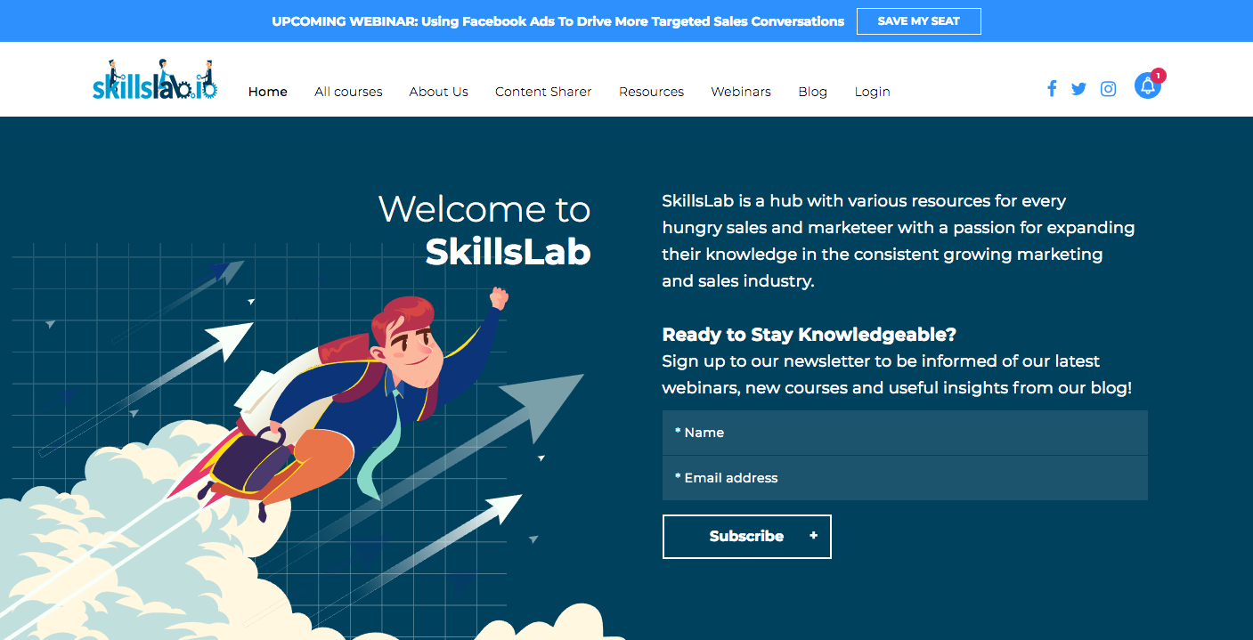 Webinar Promotion Strategies - Top Banner on Homepage