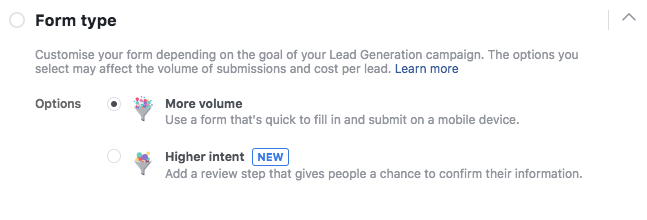 Facebook Lead Form Type