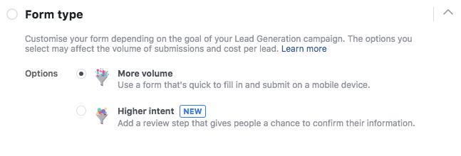 Facebook Lead Form Type