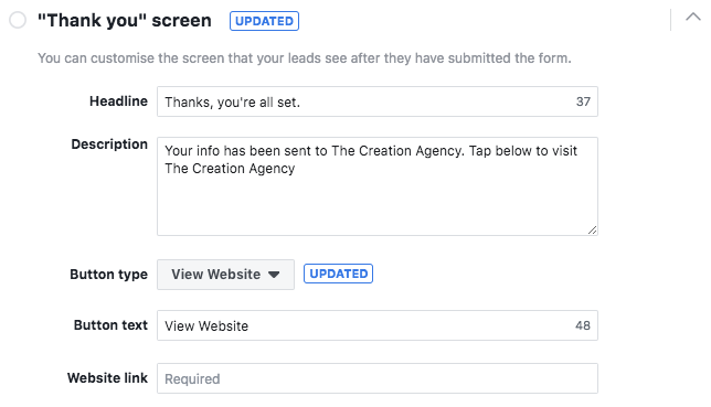 Facebook Lead Form Thank You Screen