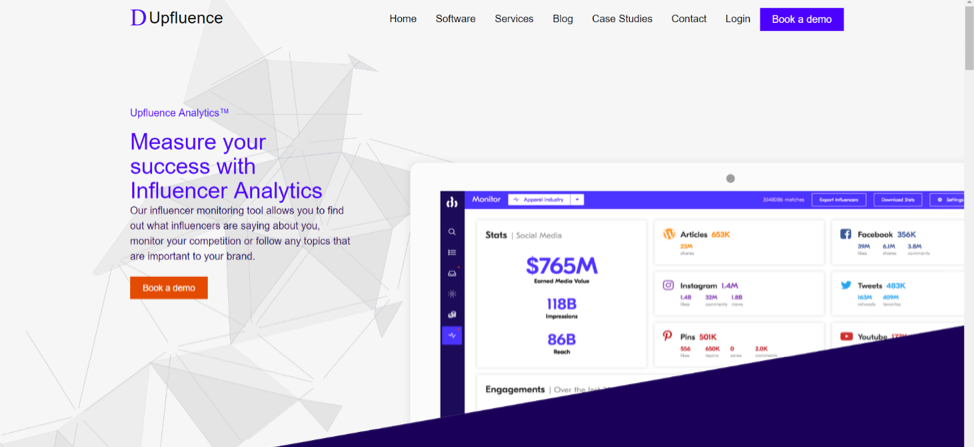 upfluence social media analytics tool