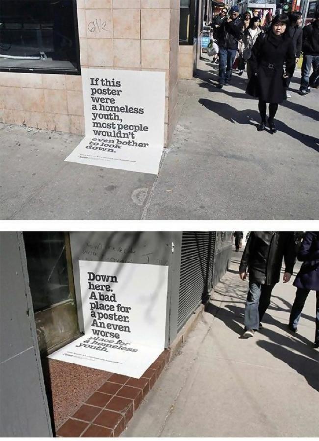 homeless-guerilla marketing idea