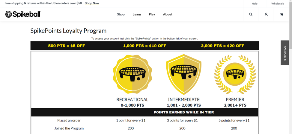 Spikeball Customer Loyalty Program