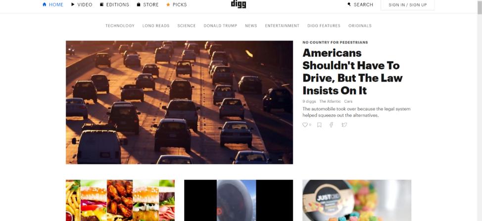 Digg Social Bookmarking Site
