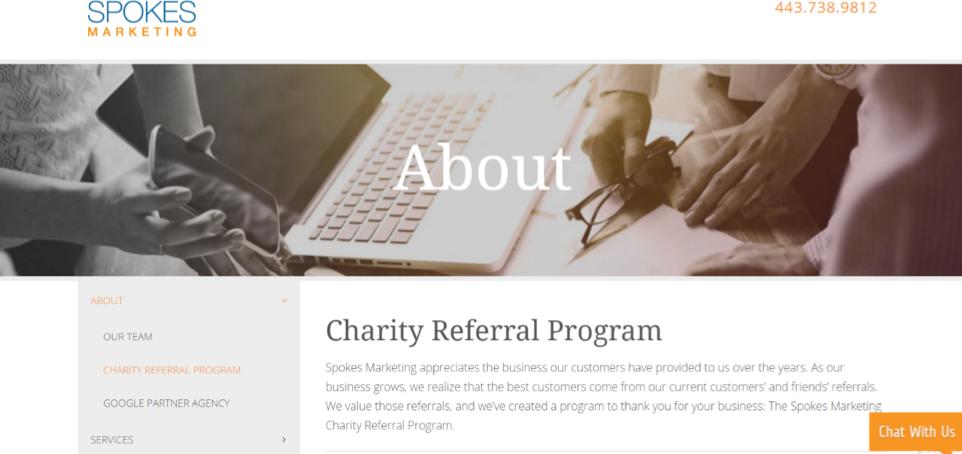 Spokes Marketing Charity Referral Program