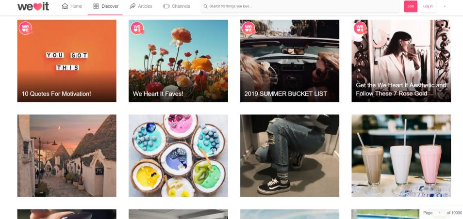 We Heart It Social Boomarking Site