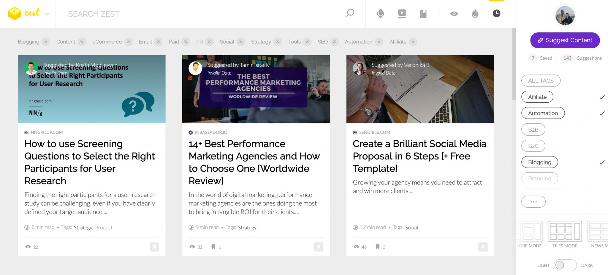 Zest-Start-Page