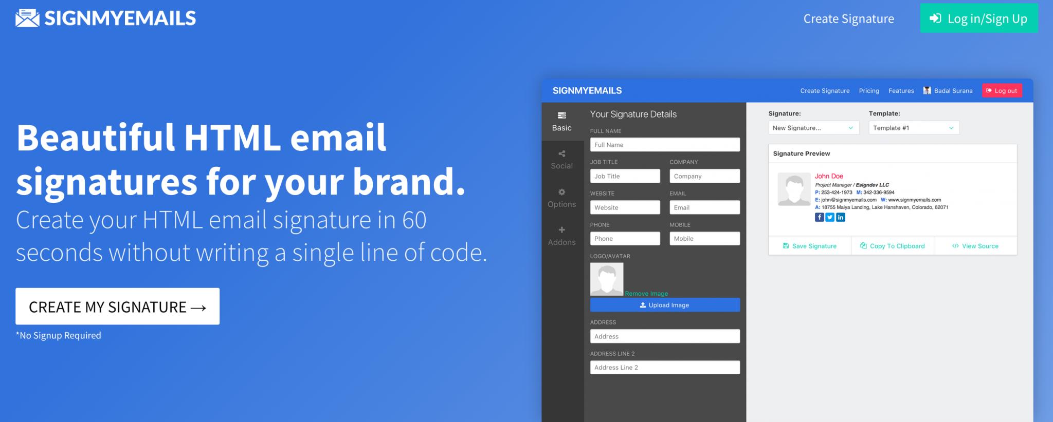 SignMyEmails Signature Design Tool