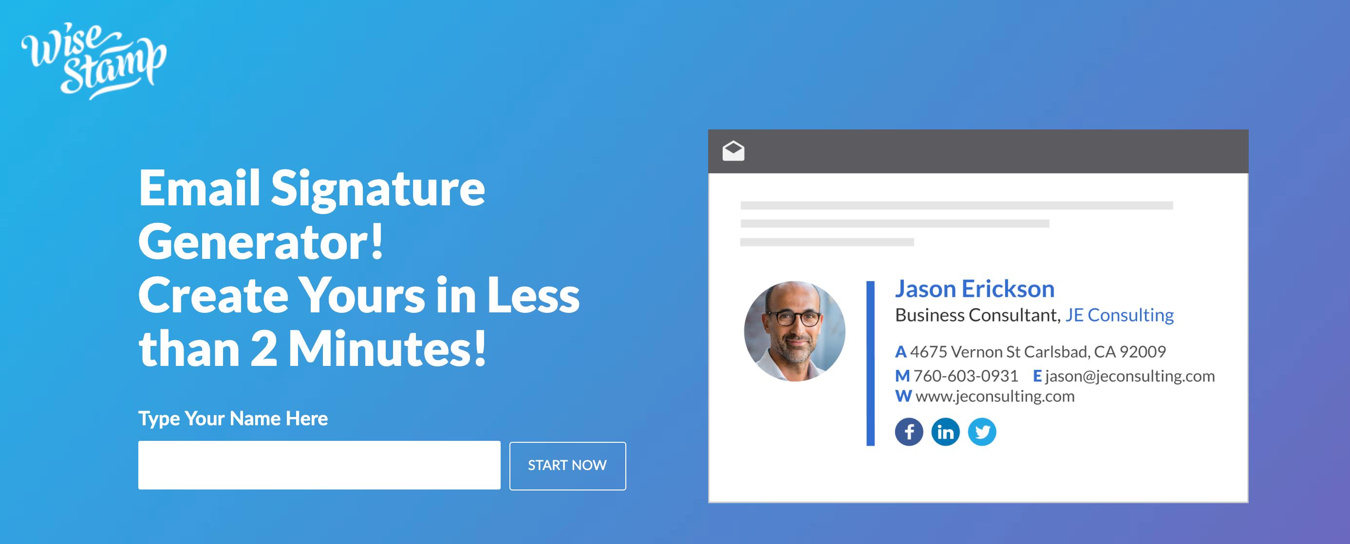 WiseStamp Email Signature Design Tool